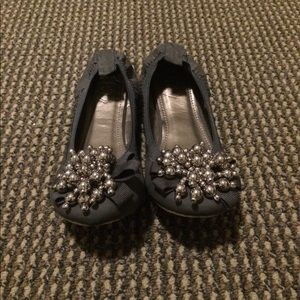Shoes - Gray Flats with Silver Embellishments.